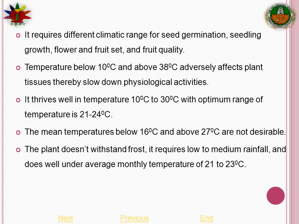 It requires different climatic range for seed germination, seedling growth, flower and fruit set, and fruit quality.