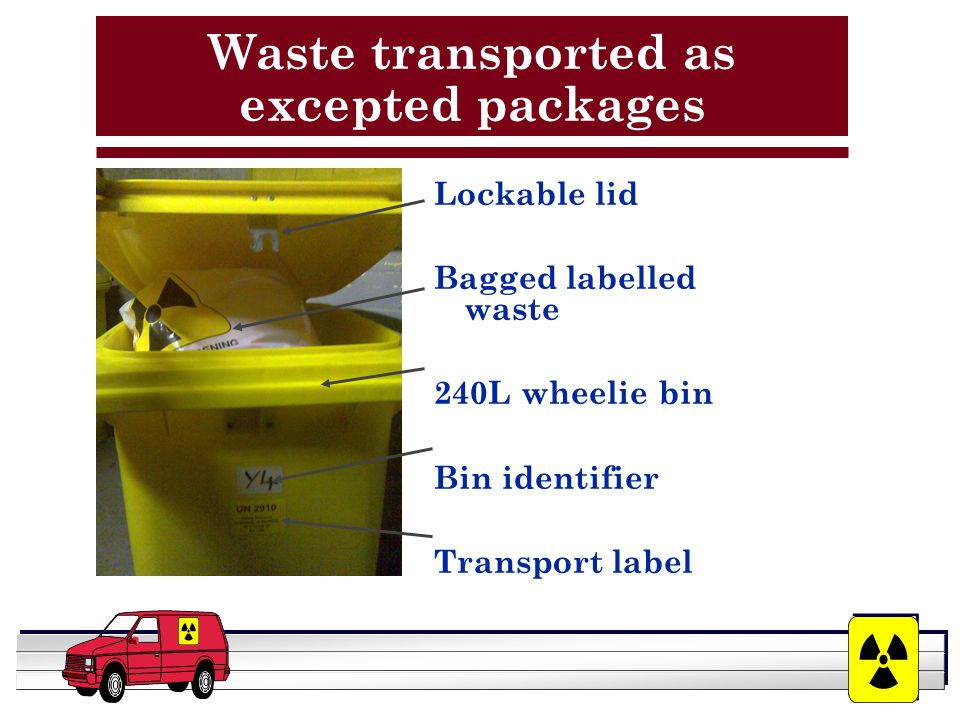 YOUR LOGO HERE Waste transported as excepted packages Lockable lid Bagged labelled waste 240L wheelie bin Bin identifier Transport label
