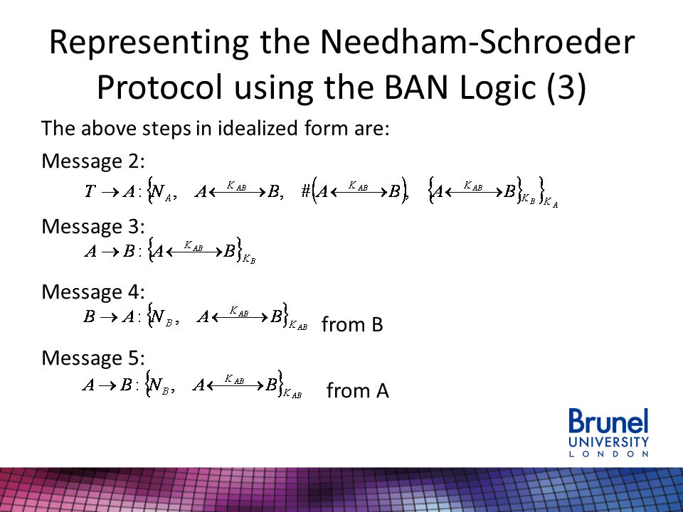 Representing the Needham-Schroeder Protocol using the BAN Logic (3) The above steps in idealized form are: Message 2: Message 3: Message 4: from B Message 5: from A
