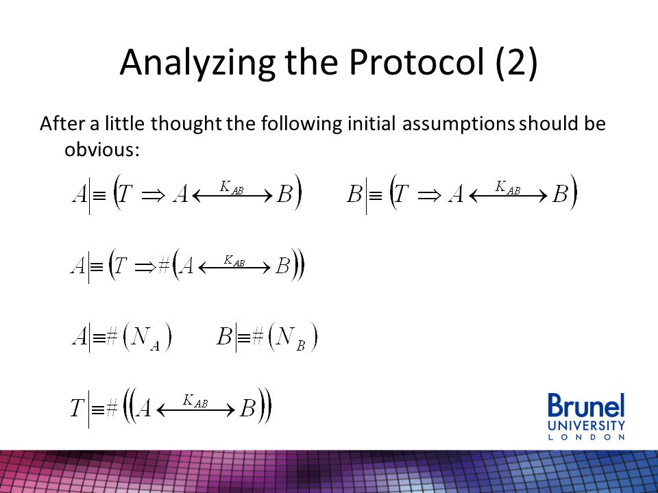 Analyzing the Protocol (2) After a little thought the following initial assumptions should be obvious: