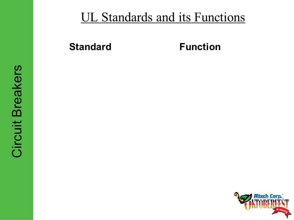 Circuit Breakers UL Standards and its Functions StandardFunction