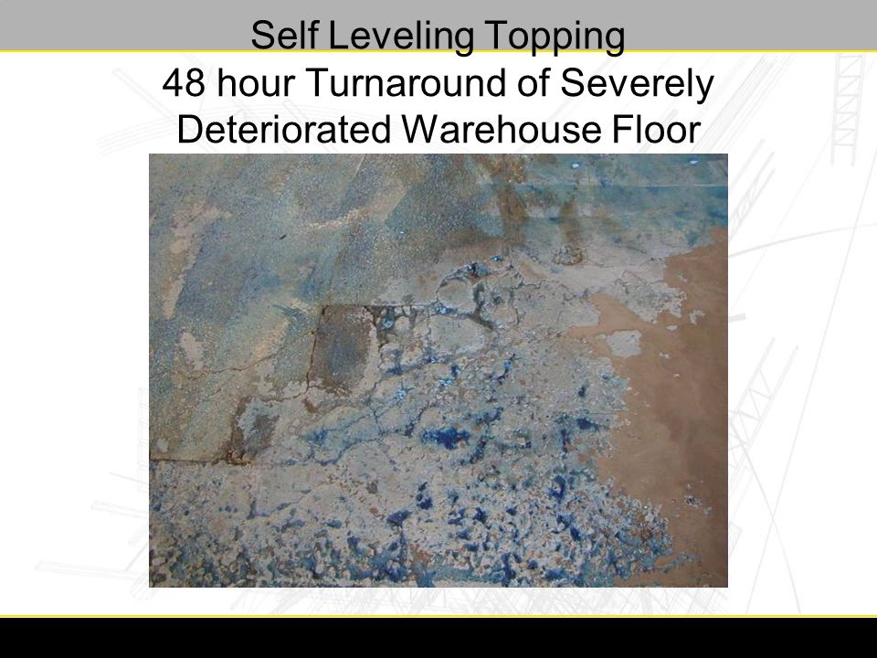 Self Leveling Topping 48 hour Turnaround of Severely Deteriorated Warehouse Floor