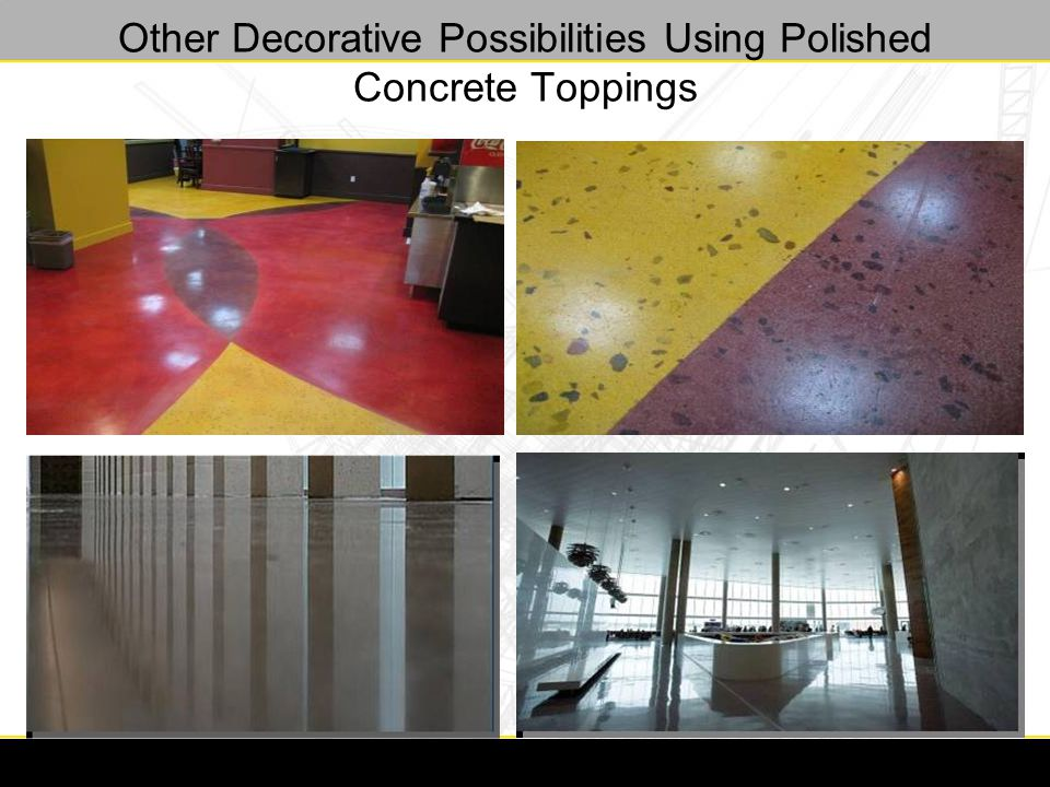 Other Decorative Possibilities Using Polished Concrete Toppings