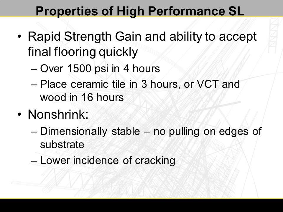Repaired and Leveled Floor 4. Apply 3/4 minimum Calcium Aluminate Self Leveling Underlayment