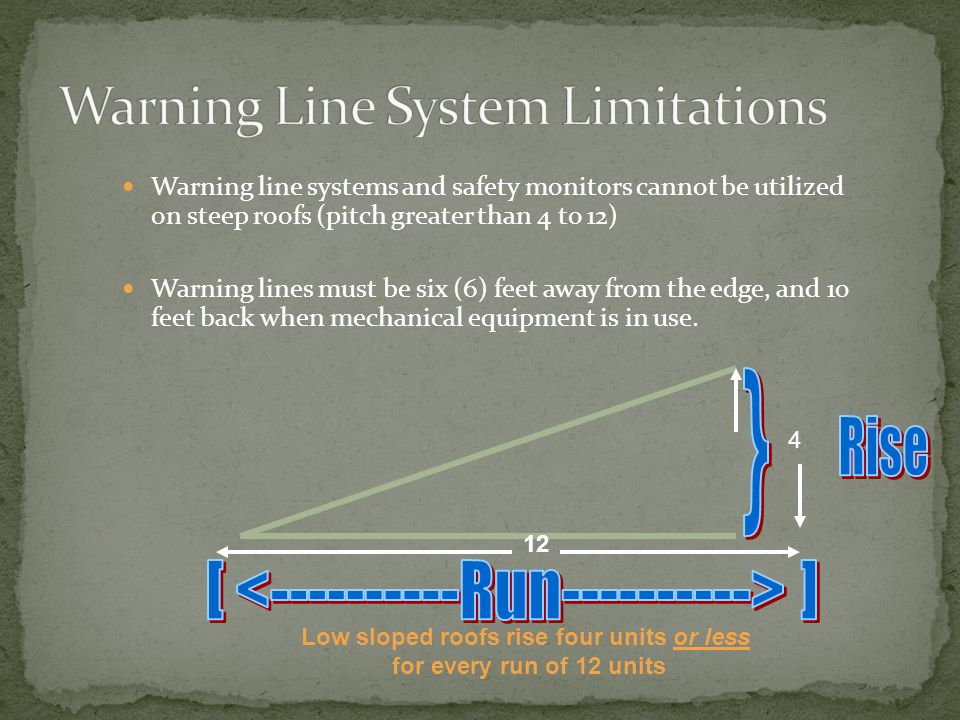 Warning line system means a barrier erected on a roof to warn employees that they are approaching an unprotected roof side or edge, and which designates an area in which roofing work may take place without the use of guardrail, personal fall arrest system, or safety net systems to protect employees in the area.