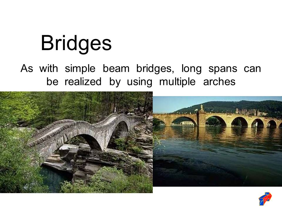 As with simple beam bridges, long spans can be realized by using multiple arches Bridges