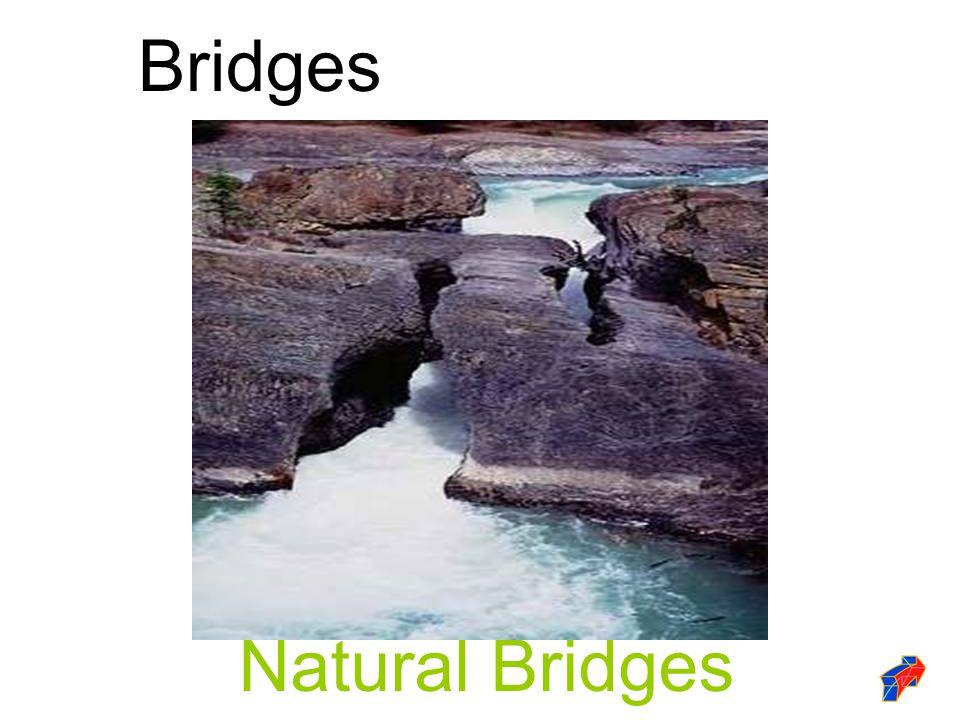 The first man made bridges: Simple beam bridge Logs formed the beams Bridges