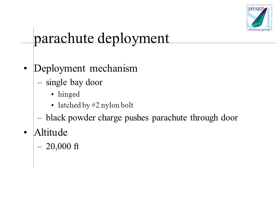 parachute deployment Deployment mechanism –single bay door hinged latched by #2 nylon bolt –black powder charge pushes parachute through door Altitude –20,000 ft