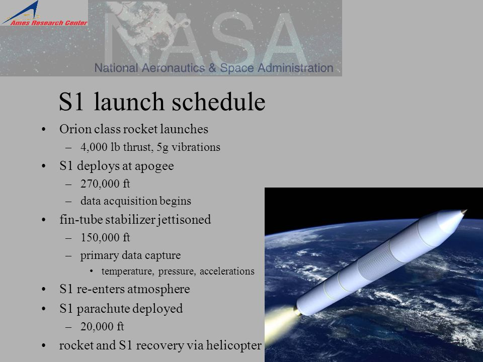 S1 launch schedule Orion class rocket launches –4,000 lb thrust, 5g vibrations S1 deploys at apogee –270,000 ft –data acquisition begins fin-tube stabilizer jettisoned –150,000 ft –primary data capture temperature, pressure, accelerations S1 re-enters atmosphere S1 parachute deployed –20,000 ft rocket and S1 recovery via helicopter