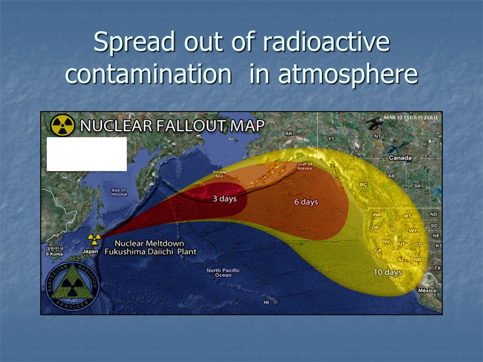 Spread out of radioactive contamination in atmosphere