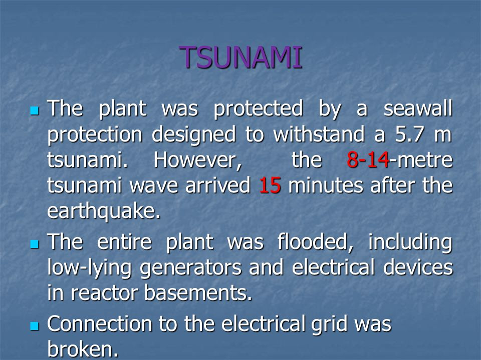 TSUNAMI The plant was protected by a seawall protection designed to withstand a 5.7 m tsunami.