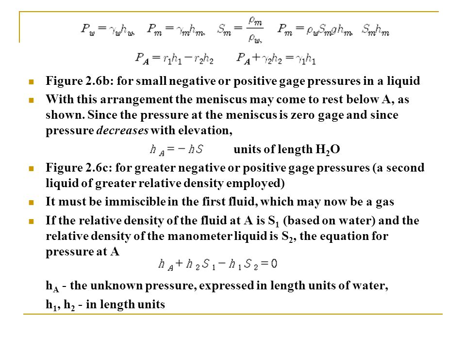 Figure 2.6b: for small negative or positive gage pressures in a liquid With this arrangement the meniscus may come to rest below A, as shown. Since th