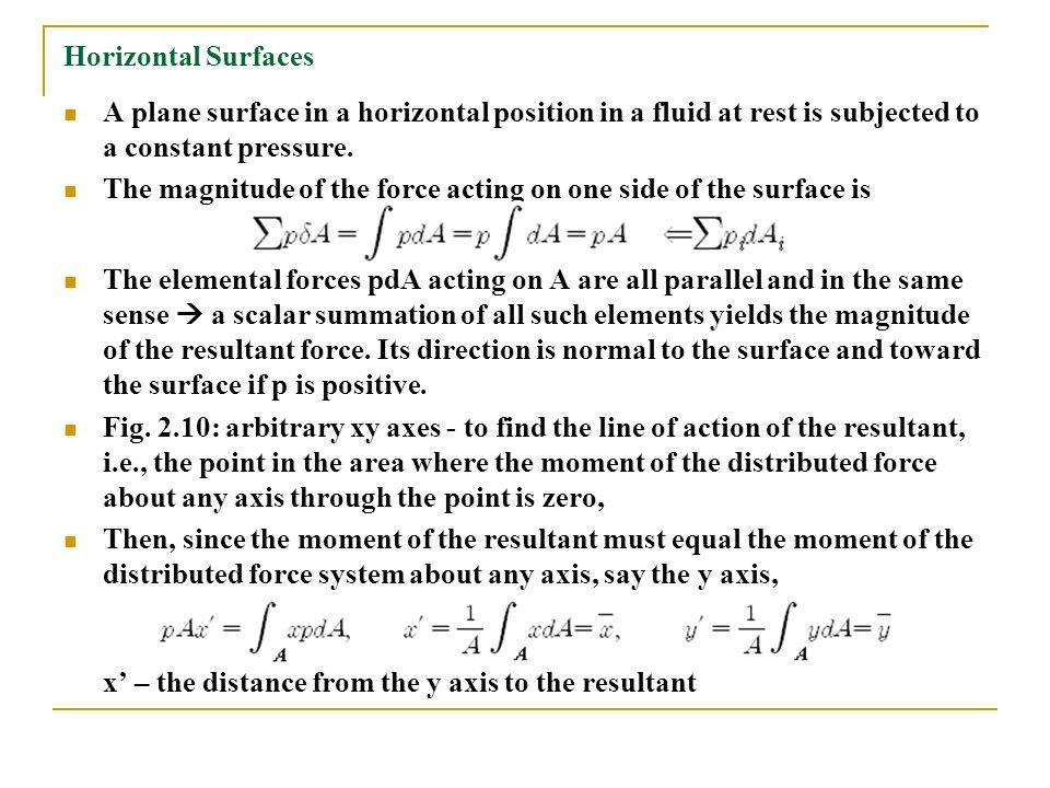 Horizontal Surfaces A plane surface in a horizontal position in a fluid at rest is subjected to a constant pressure. The magnitude of the force acting