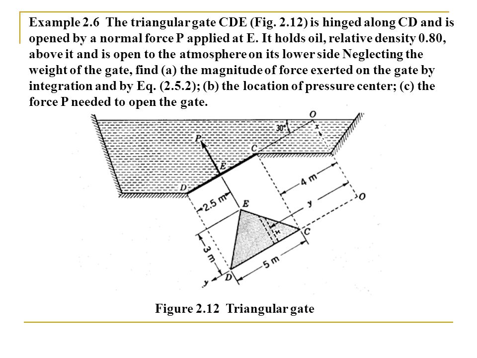 Figure 2.12 Triangular gate Example 2.6 The triangular gate CDE (Fig. 2.12) is hinged along CD and is opened by a normal force P applied at E. It hold