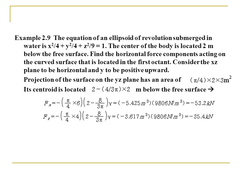 Example 2.9 The equation of an ellipsoid of revolution submerged in water is x 2 /4 + y 2 /4 + z 2 /9 = 1.