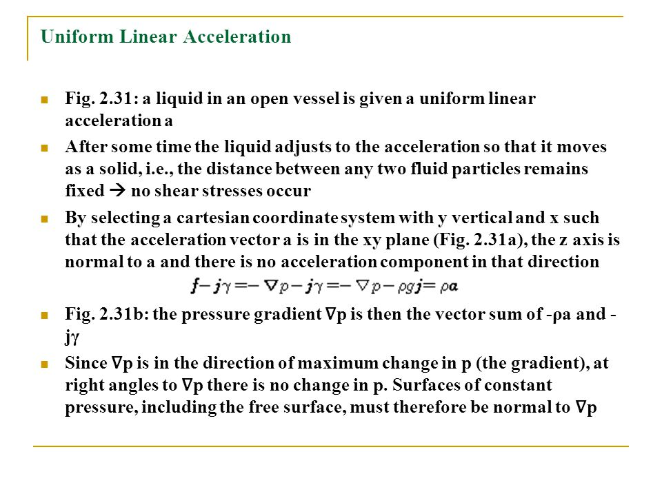 Uniform Linear Acceleration Fig. 2.31: a liquid in an open vessel is given a uniform linear acceleration a After some time the liquid adjusts to the a