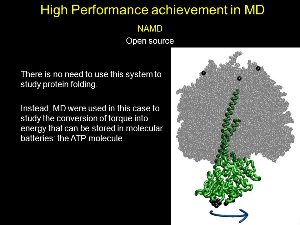 High Performance achievement in MD NAMD Open source There is no need to use this system to study protein folding. Instead, MD were used in this case t