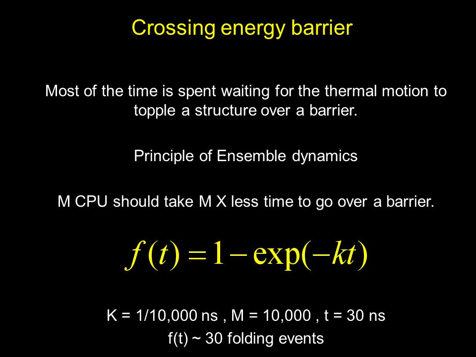 Crossing energy barrier Most of the time is spent waiting for the thermal motion to topple a structure over a barrier. Principle of Ensemble dynamics