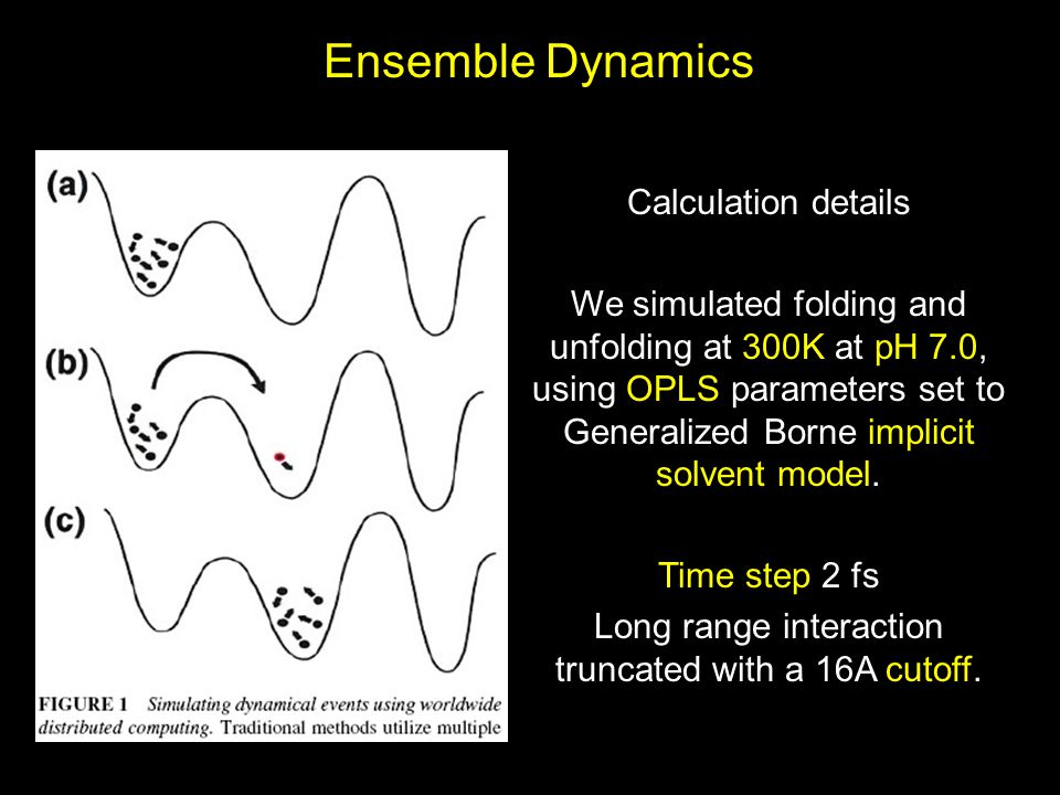 Ensemble Dynamics Calculation details We simulated folding and unfolding at 300K at pH 7.0, using OPLS parameters set to Generalized Borne implicit so