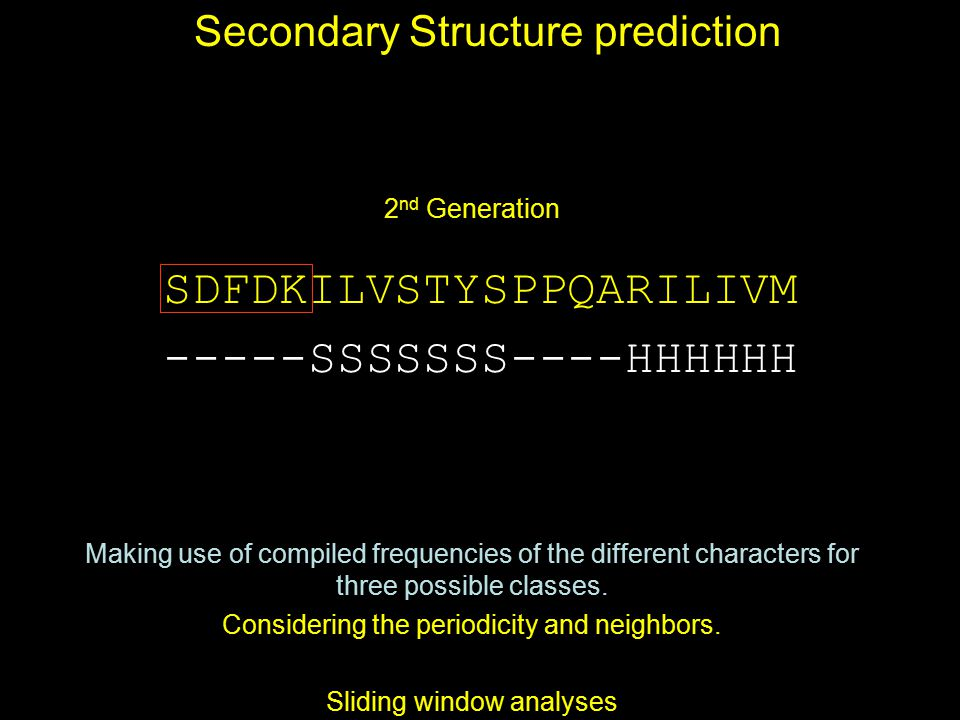 Secondary Structure prediction 2 nd Generation Making use of compiled frequencies of the different characters for three possible classes. Considering