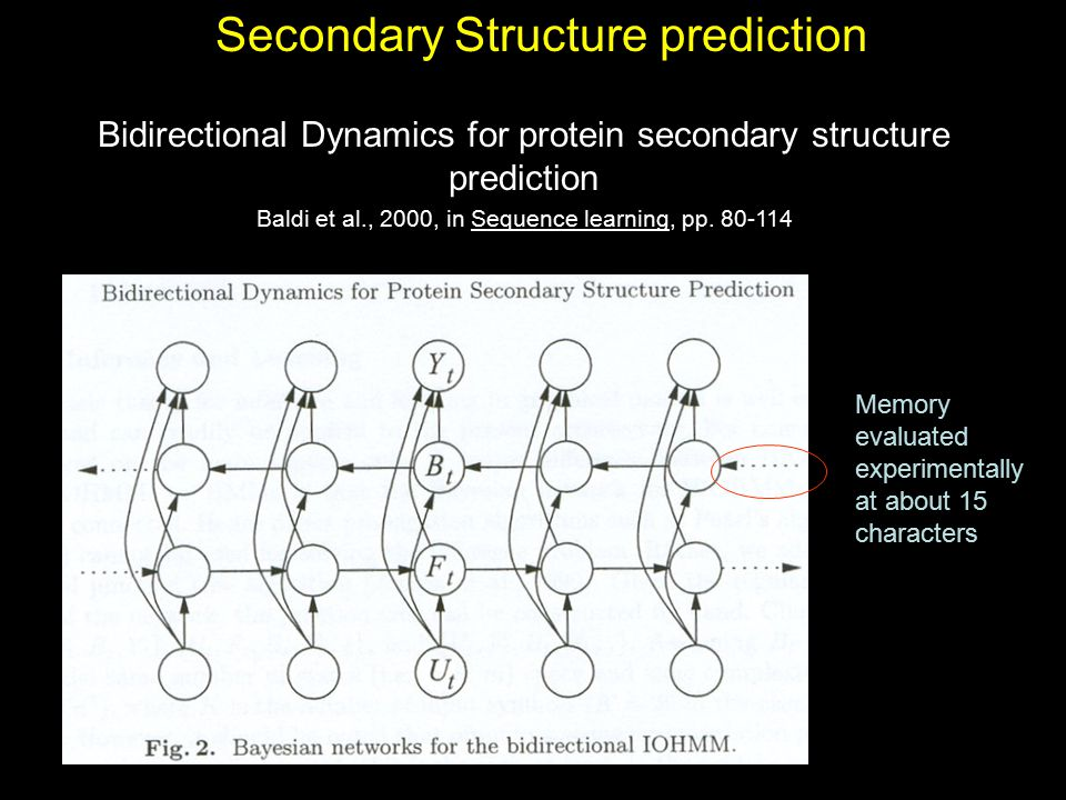 Secondary Structure prediction Bidirectional Dynamics for protein secondary structure prediction Baldi et al., 2000, in Sequence learning, pp. 80-114