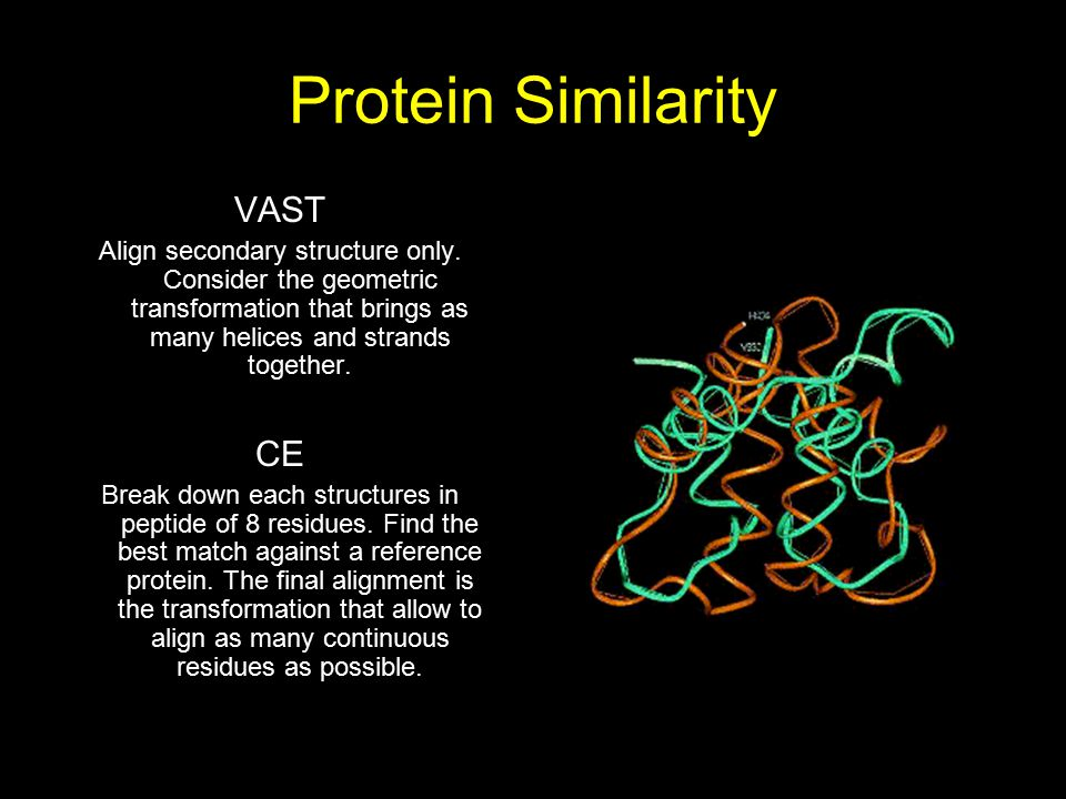 Protein Similarity VAST Align secondary structure only. Consider the geometric transformation that brings as many helices and strands together. CE Bre