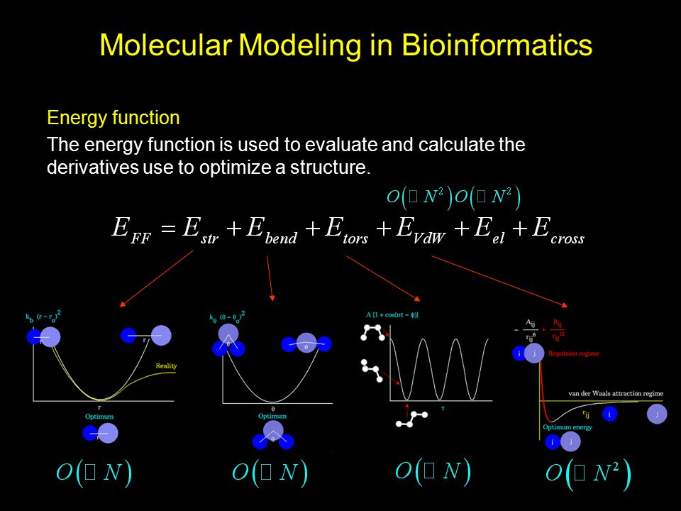 Molecular Modeling in Bioinformatics Energy function The energy function is used to evaluate and calculate the derivatives use to optimize a structure
