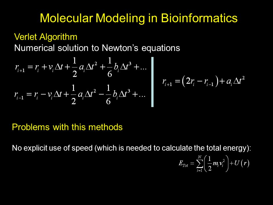 Molecular Modeling in Bioinformatics Verlet Algorithm Numerical solution to Newton's equations Problems with this methods No explicit use of speed (wh