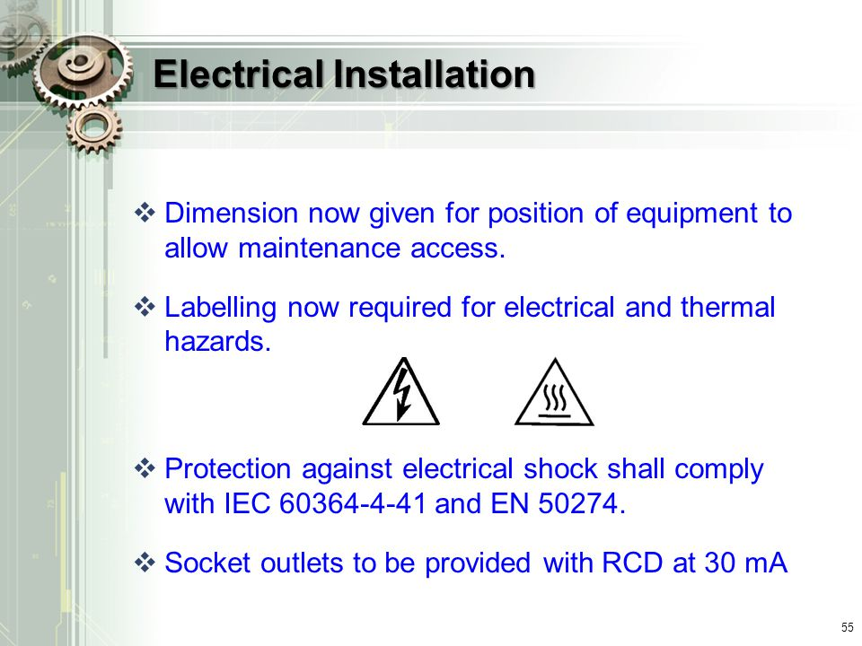 Electrical Installation  Dimension now given for position of equipment to allow maintenance access.