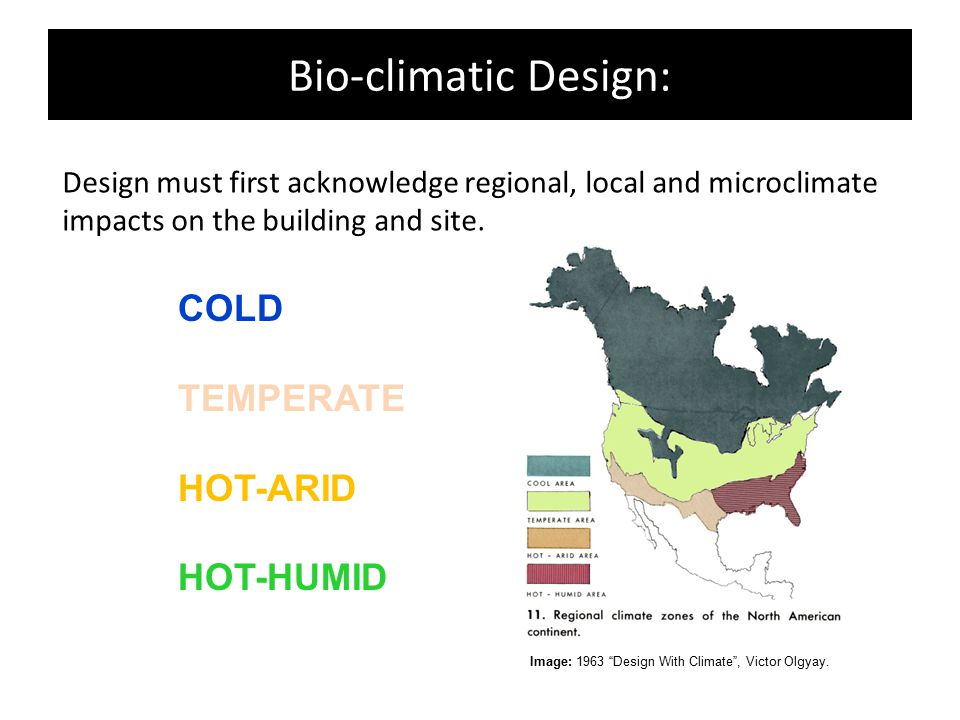 "Bio-climatic Design: Design must first acknowledge regional, local and microclimate impacts on the building and site. Image: 1963 ""Design With Climate"