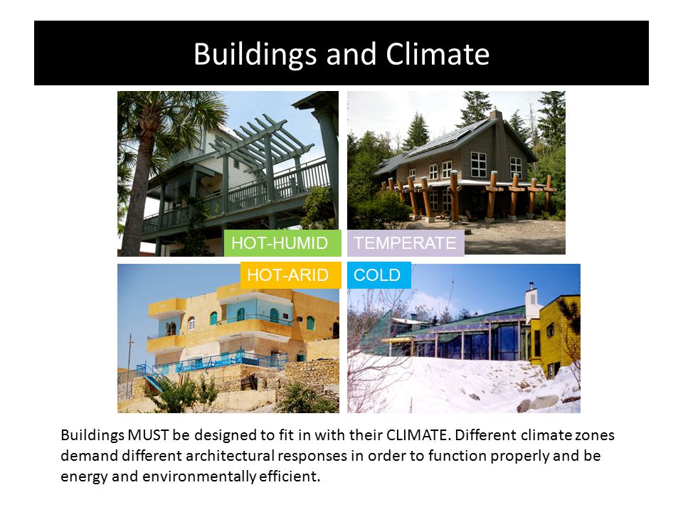 Buildings and Climate Buildings MUST be designed to fit in with their CLIMATE. Different climate zones demand different architectural responses in ord