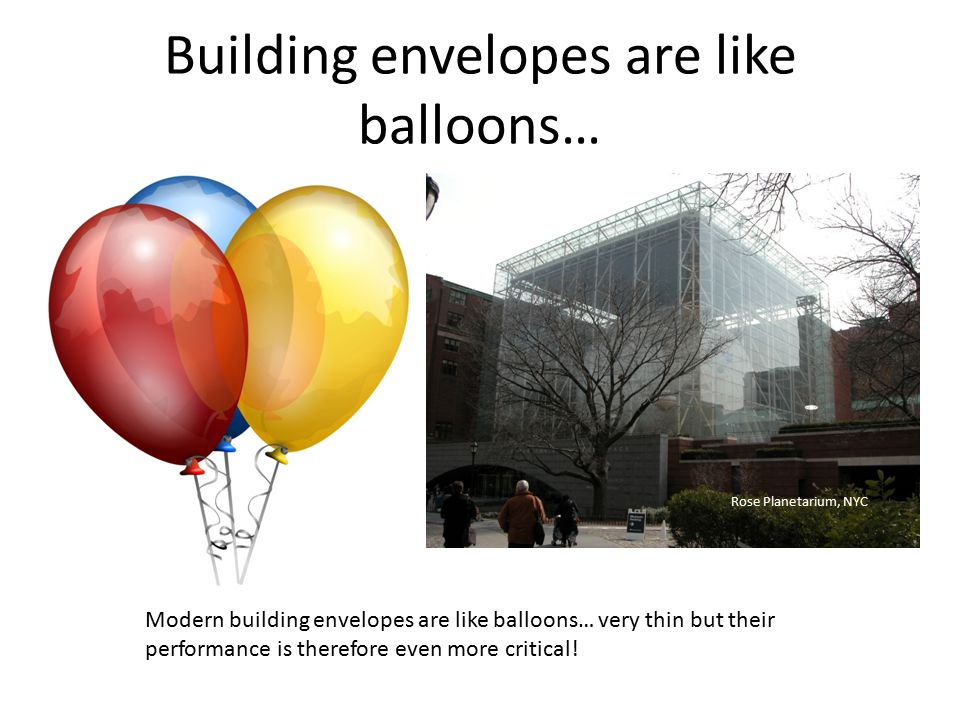 Building envelopes are like balloons… Modern building envelopes are like balloons… very thin but their performance is therefore even more critical! Ro