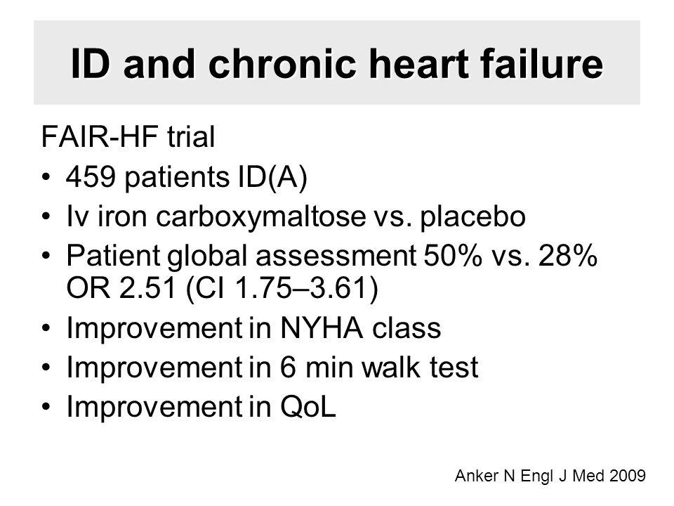 ID and chronic heart failure FAIR-HF trial 459 patients ID(A) Iv iron carboxymaltose vs.