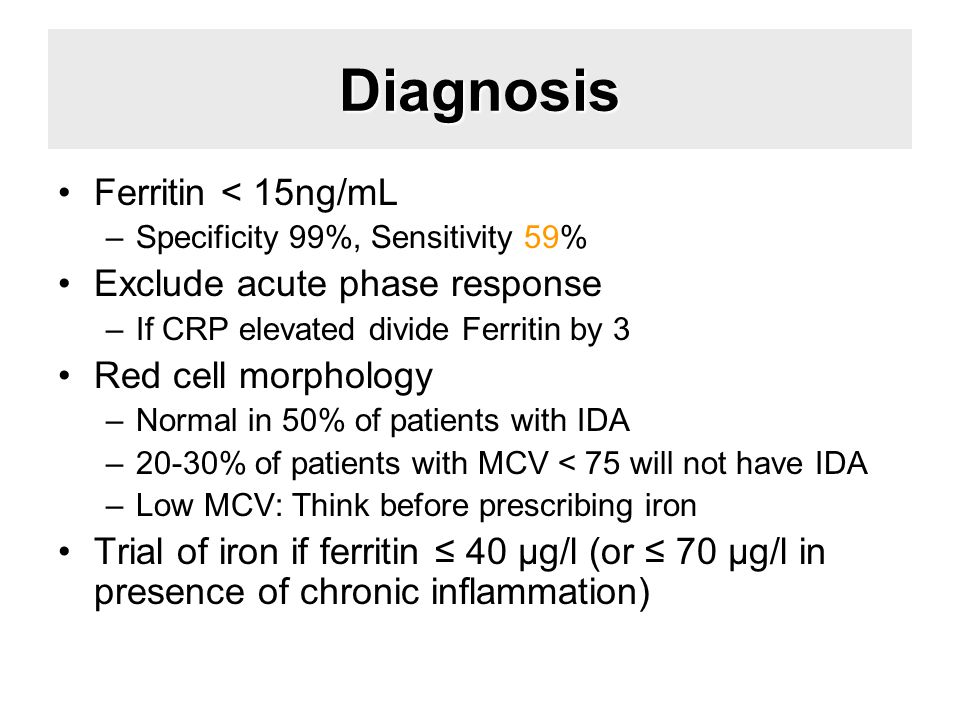 Diagnosis Ferritin < 15ng/mL –Specificity 99%, Sensitivity 59% Exclude acute phase response –If CRP elevated divide Ferritin by 3 Red cell morphology –Normal in 50% of patients with IDA –20-30% of patients with MCV < 75 will not have IDA –Low MCV: Think before prescribing iron Trial of iron if ferritin ≤ 40 μg/l (or ≤ 70 μg/l in presence of chronic inflammation)