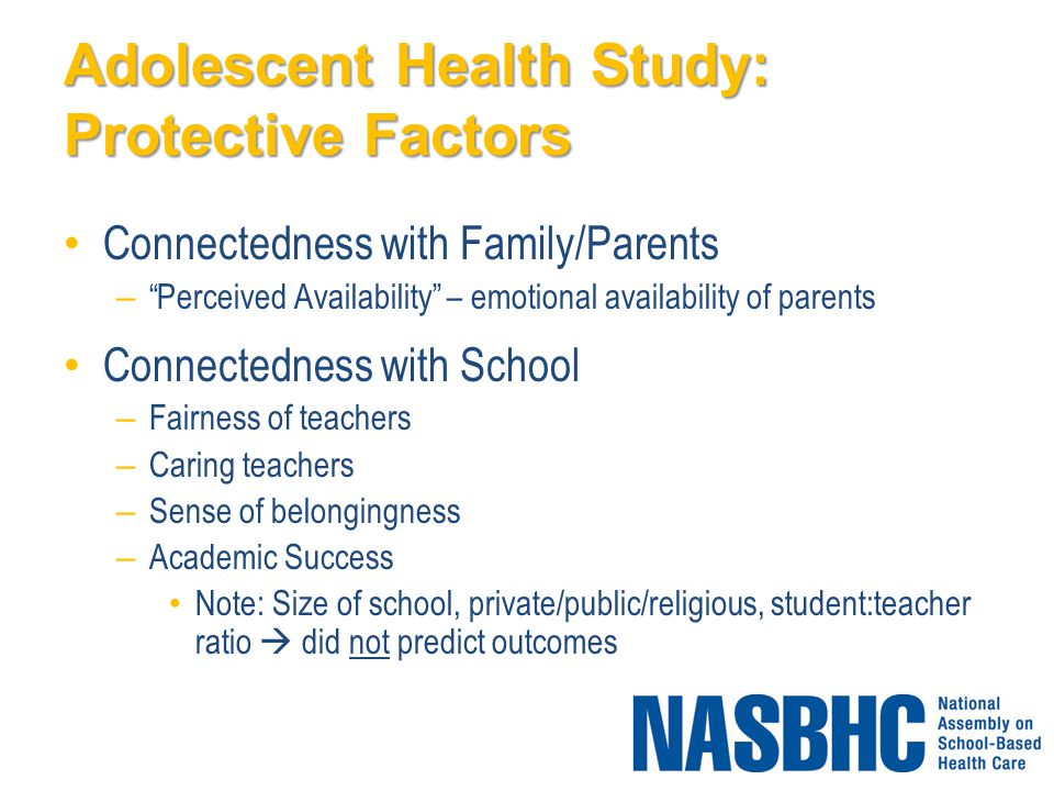 Adolescent Health Study: Protective Factors Connectedness with Family/Parents – Perceived Availability – emotional availability of parents Connectedness with School – Fairness of teachers – Caring teachers – Sense of belongingness – Academic Success Note: Size of school, private/public/religious, student:teacher ratio  did not predict outcomes