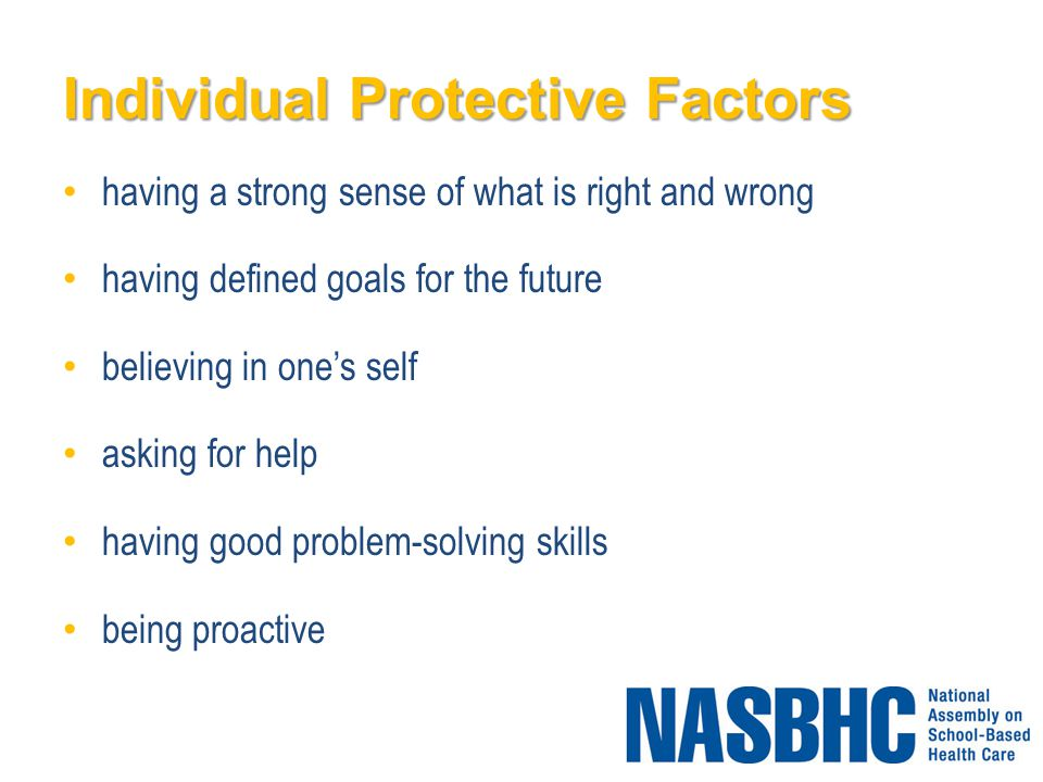 Individual Protective Factors having a strong sense of what is right and wrong having defined goals for the future believing in one's self asking for help having good problem-solving skills being proactive