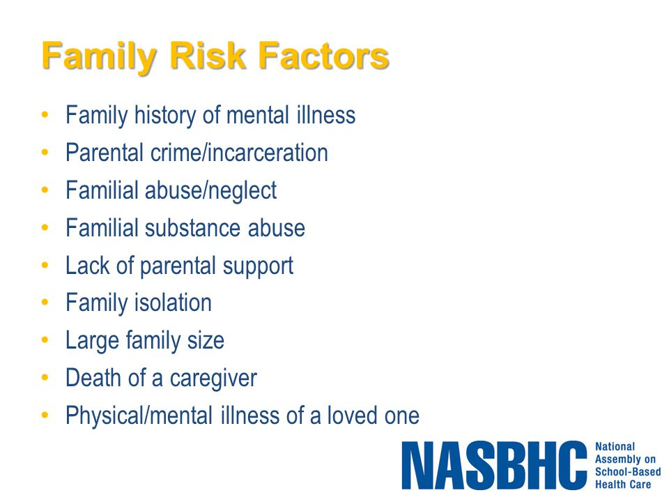 Family Risk Factors Family history of mental illness Parental crime/incarceration Familial abuse/neglect Familial substance abuse Lack of parental support Family isolation Large family size Death of a caregiver Physical/mental illness of a loved one