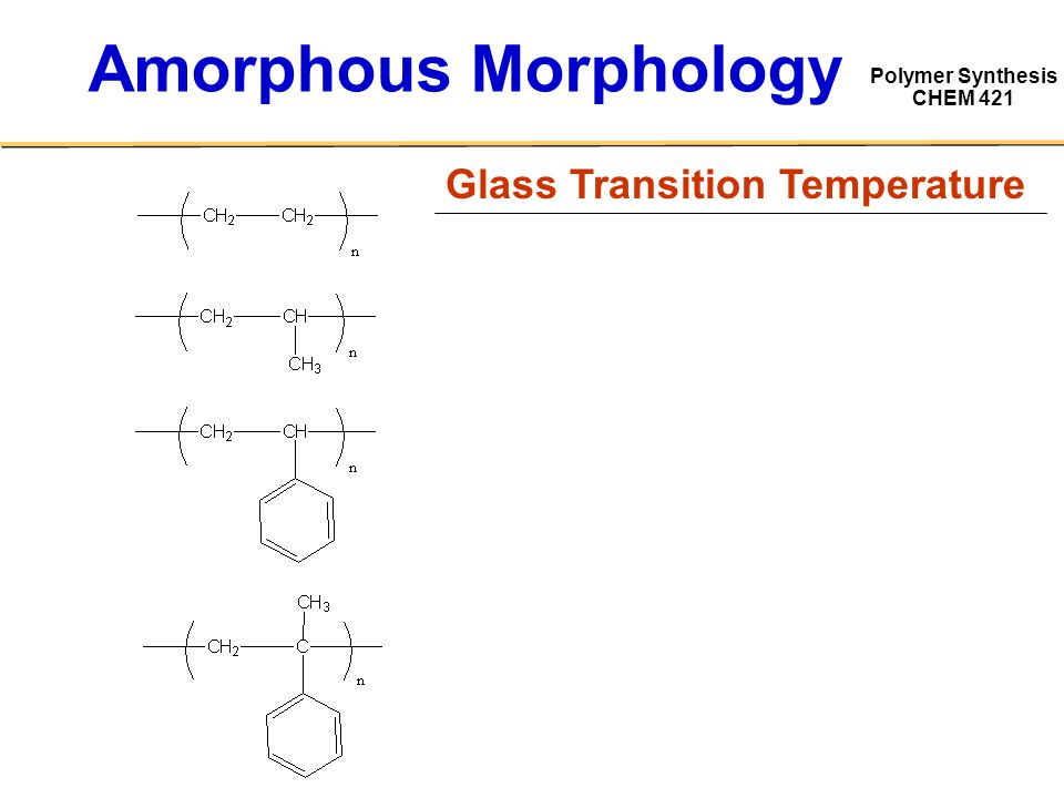 Polymer Synthesis CHEM 421 Amorphous Morphology Glass Transition Temperature
