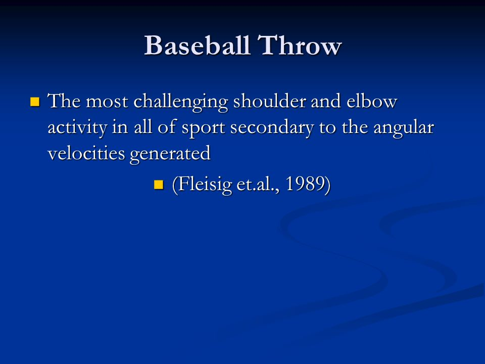 ITP Continued Rehab/care cannot reproduce the speed or the joint forces generated during throwing.
