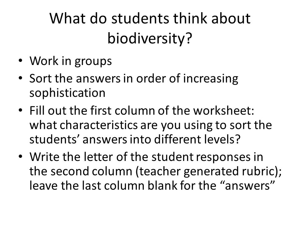 What do students think about biodiversity.