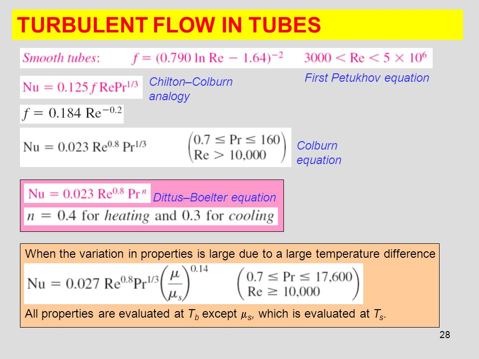 28 TURBULENT FLOW IN TUBES First Petukhov equation Chilton–Colburn analogy Colburn equation Dittus–Boelter equation When the variation in properties i