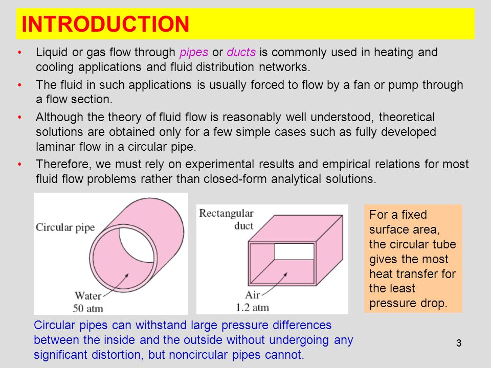4 The fluid velocity in a pipe changes from zero at the wall because of the no-slip condition to a maximum at the pipe center.
