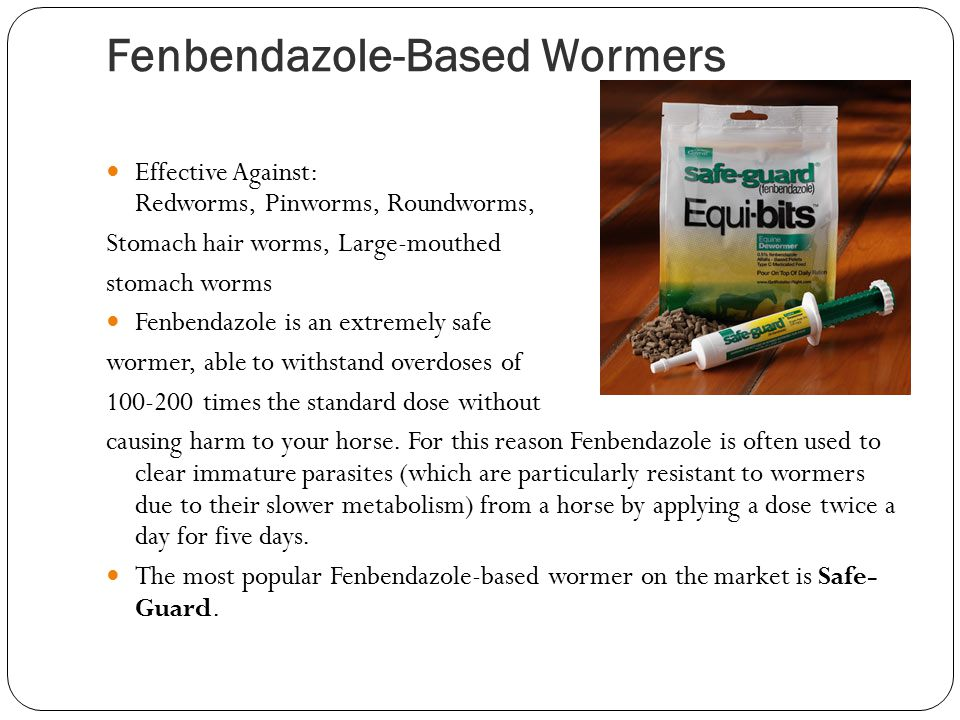 Oxibendazole-Based Wormers Effective Against: Large roundworms Large strongyles Pinworms Threadworms Whereas Oxibendazole may not target as many parasites as others, its success rate against the above listed parasites is very impressive: 97 – 100% effective.