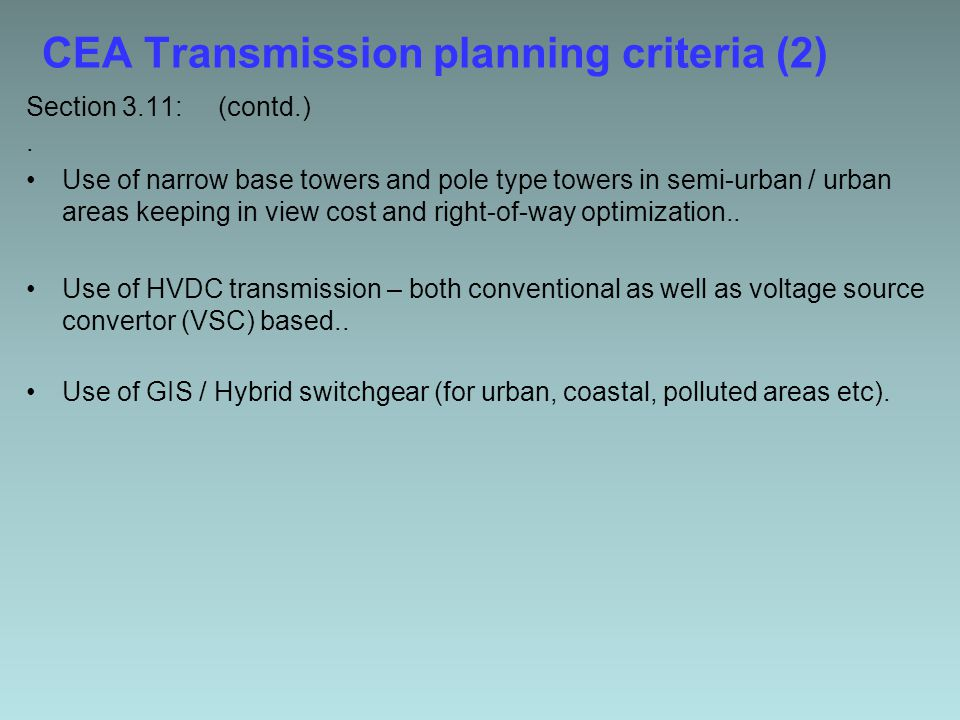 CEA Transmission planning criteria (2) Section 3.11:(contd.).