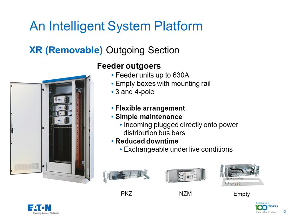 12 An Intelligent System Platform XR (Removable) Outgoing Section Feeder outgoers Feeder units up to 630A Empty boxes with mounting rail 3 and 4-pole Flexible arrangement Simple maintenance Incoming plugged directly onto power distribution bus bars Reduced downtime Exchangeable under live conditions PKZNZM Empty