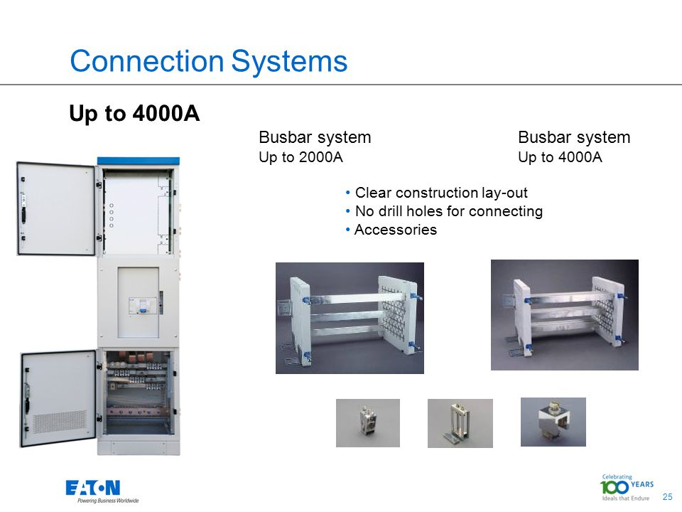25 Connection Systems Up to 4000A Busbar system Up to 2000A Clear construction lay-out No drill holes for connecting Accessories Busbar system Up to 4000A