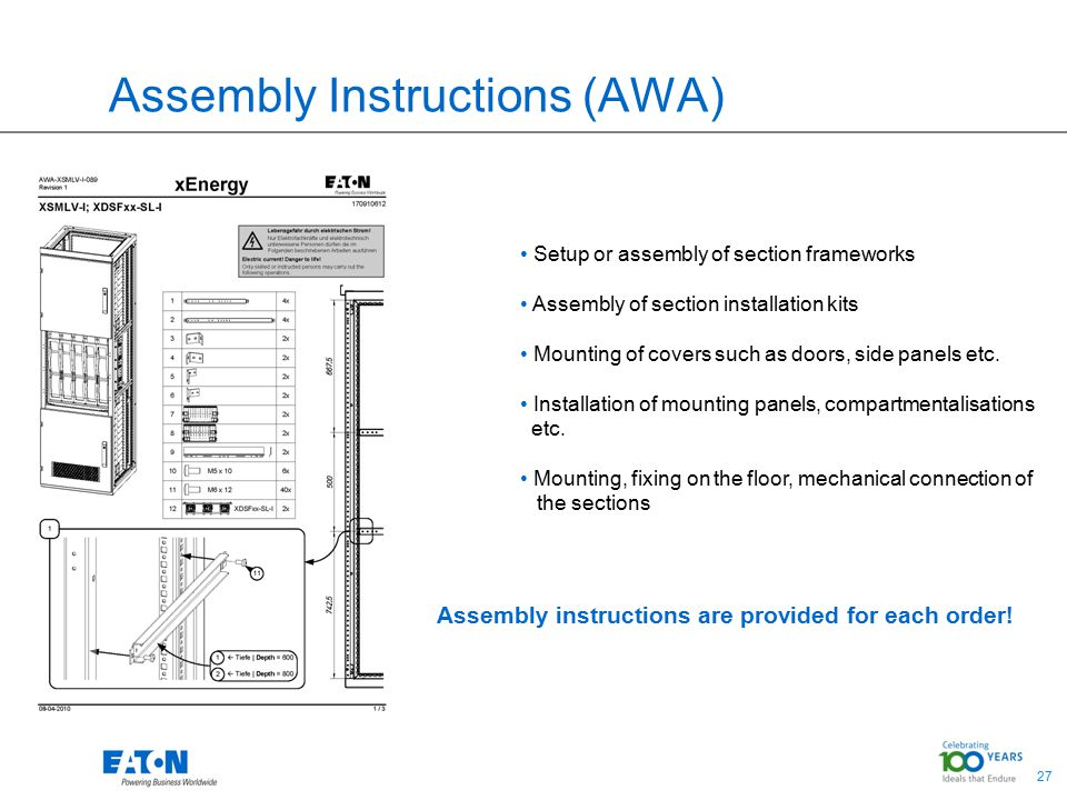 27 Assembly Instructions (AWA) Setup or assembly of section frameworks Assembly of section installation kits Mounting of covers such as doors, side panels etc.