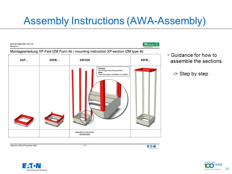 29 Assembly Instructions (AWA-Assembly) Guidance for how to assemble the sections -> Step by step