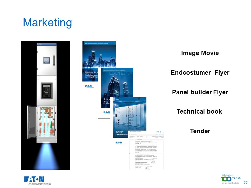 36 Marketing Image Movie Endcostumer Flyer Panel builder Flyer Technical book Tender