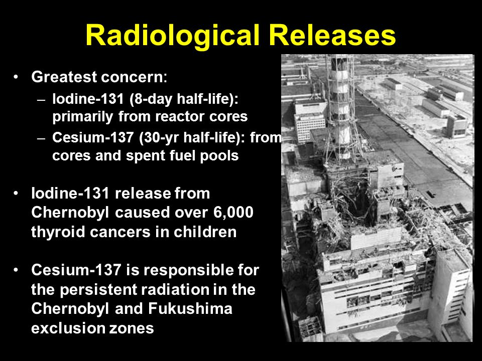 Radiological Releases Greatest concern : –Iodine-131 (8-day half-life): primarily from reactor cores –Cesium-137 (30-yr half-life): from cores and spent fuel pools Iodine-131 release from Chernobyl caused over 6,000 thyroid cancers in children Cesium-137 is responsible for the persistent radiation in the Chernobyl and Fukushima exclusion zones Chernobyl